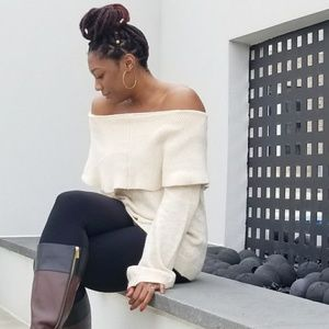 Oatmeal off the shoulder sweater